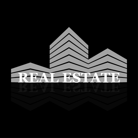 Real estate logo with reflection on black background. Vector illustration.