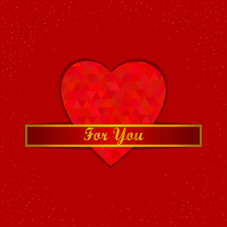 red diamond: Greeting card with red diamond heart. Vector illustration.