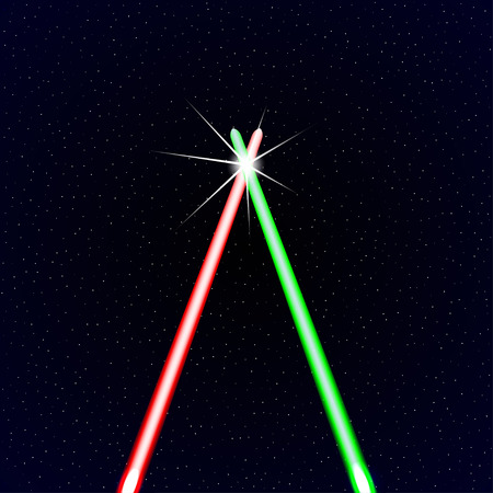 space wars: Two light rays on stars background. Vector background.