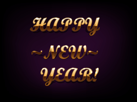 Golden glitter Happy New Year on purple background with quotes. Vector background.