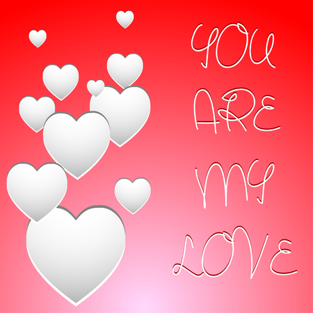 mash: Valentines card with white hearts and mash note. Vector illustration. Illustration