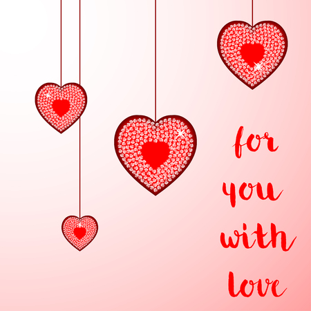 Diamond hearts vector background. Valentines day vector background. Illustration