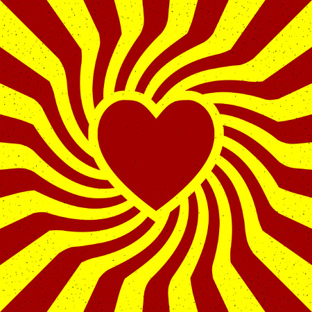 spin: retro twirl rays with heart poster. Optical illusion. Illustration
