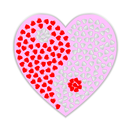 karma design: Yin Yang symbol with red and white hearts.  Valentines day design. Illustration