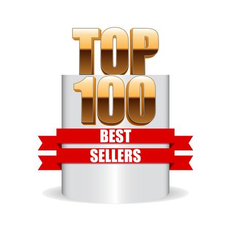 vendedores: Los 100 mejores vendedores aislados pedestal. Vectores