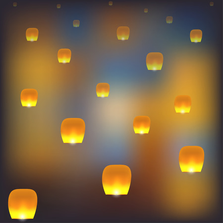 Mass group of flying chinese lanterns. Illustration