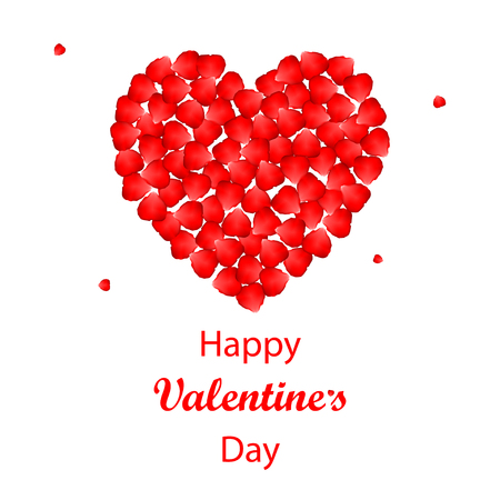 rose petals: Vector Valentines day background with rose petals heart. Isolated on white background.