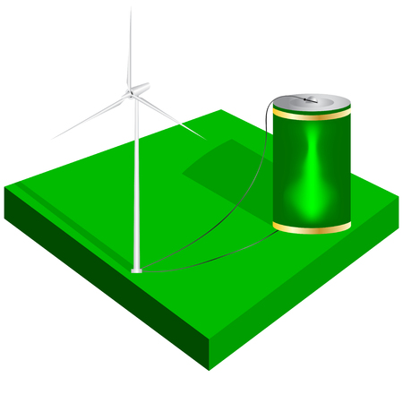 wind turbine: Isometric wind turbine and charging battery. Vector illustration.