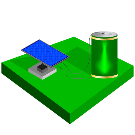 panels: Isometric battery and solar panels. Battery charge. Vector illustration.