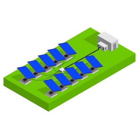 energies: Vector solar panels. Isometric solar panels. Photovoltaic modules. Illustration
