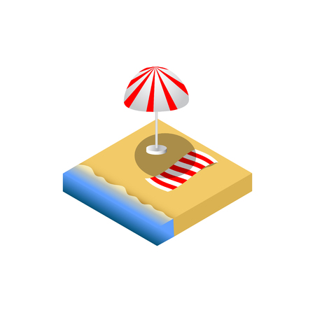 mat: Isometric beach with umblella and mat.