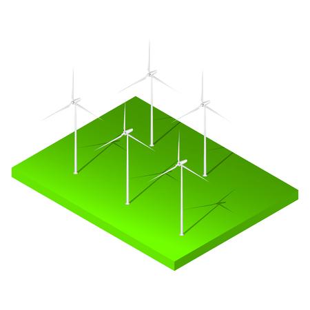 wind turbine: Isometric wind turbine on green land. Vector wind turbine. Illustration