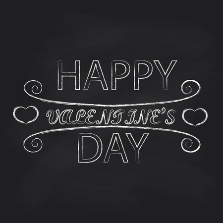 untidy text: Chalkboard with lettering Happy Valentines Day. Vector illustration. Illustration