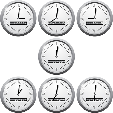 centers: Stock exchange time in financional centers. Vector stock exchange time.