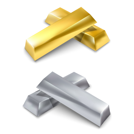 precious metal: Golden and silver bars. Precious metal. Vector illustration. Isolated on white background. Illustration