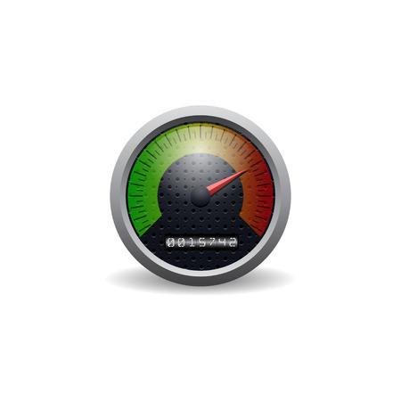 velocimetro: Velocímetro del coche del icono del vector. Aislado en el fondo blanco.