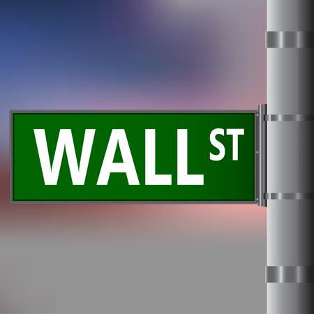 nasdaq: Wall street sign on blurred background. Vector street sing. Illustration