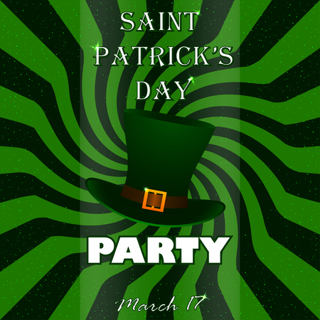 plug hat: St. Patricks Day party vector poster with silk hat. Party poster. Stock vector.
