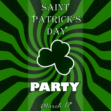 st patricks party: St. Patricks Day party vector poster with shamrock. Party poster. Stock vector. Illustration