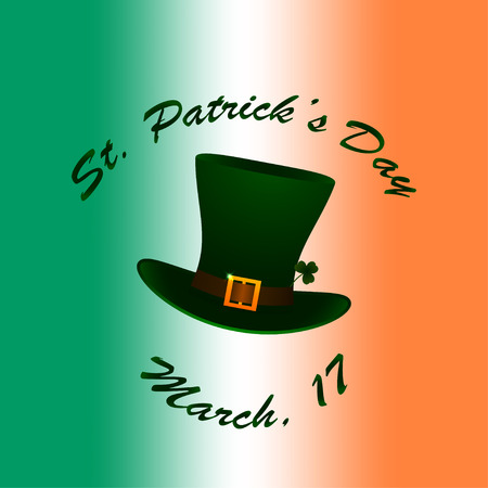 chimney pot: Saint Patricks hat and lettering on Irish flag blurred background. Stock vector.