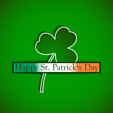 st  patricks: St. Patricks day background with clover and irish flag.  Happy St Patricks day card with shamrock and irish flag. Vector illustration. Illustration