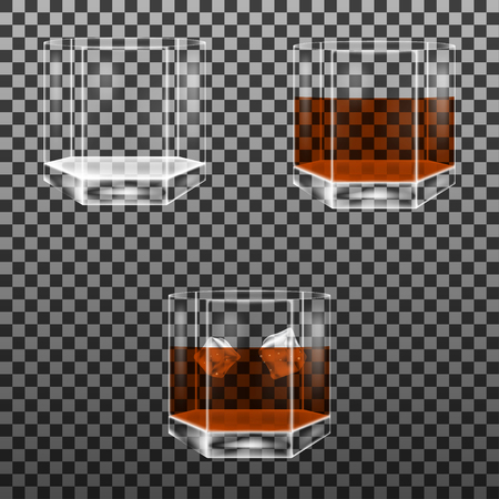 scotch whisky: Set of faceted glass with whisky and ice cubes. Isolated on transparent background. Vector multifaceted glasses.