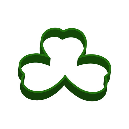 shamrock: 3d shamrock vector icon. Clover leaves. Green shamrock or clover isolated on white.