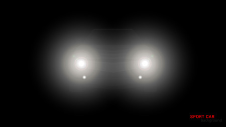 Vector silhouette of car with headlights on black background. Illustration