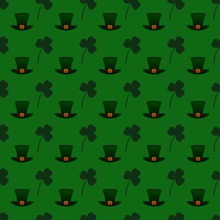 Vector seamless pattern background for St. Patricks Day. Saint Patricks Day seamless background with shamrock and leprechauns hat. Illustration