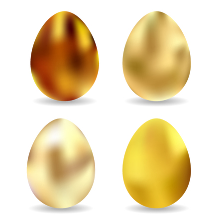 golden eggs: Set of four isolated golden eggs for your Easters design. Vector illustration.