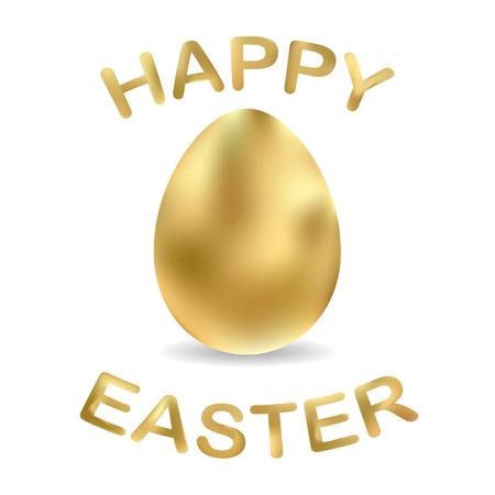 Golden eggs isolated on white background. Happy Easter card with golden egg. EPS 10 vector illustration.