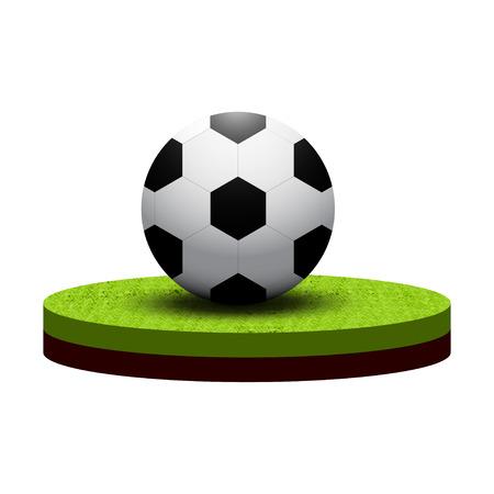 soccer field: Isometric soccer ball on soccer field. Football vector illustration.
