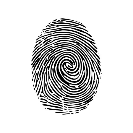 Realistic fingerprint isolated on a white background. Fingerprint icon. Black fingerprint. Vector fingerprint. Ilustracja