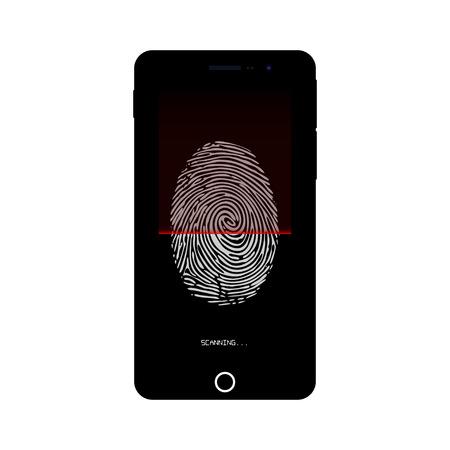 security technology: Fingerprint identification system on smartphone. Smartphone security. Security technology for smartphone. Vector illustration. Illustration