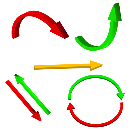 green arrow: Vector set of 3d arrows.