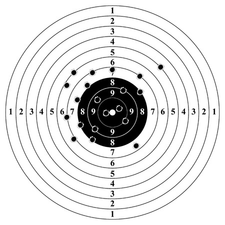 Classic target with bullet holes. Result of shooting on target. Target with numbers and bullet holes. Vector illustration.