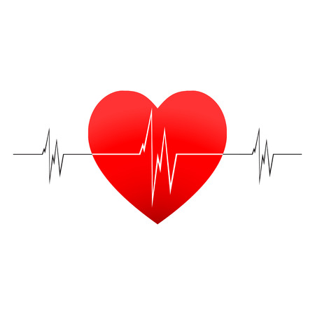 rhythm: Vector heartbeat with cardiogram. Cardiogram or heart rhythm medical icon. Isolated on white background.