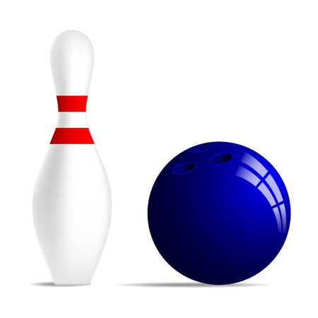 sphere standing: Bowling ball and bowling pin with two red stripes. Realistic bowling ball and bowling skittle with two red stripes. Isolated on white background. Stock vector illustration. Illustration