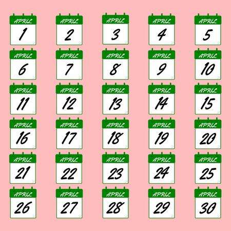 april: April vector calendar. Icons of dates for april. Days of april for your design. Vector icons of dates for april. Illustration