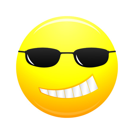 smirk: Hipster smiley face. Cartoon smiling face in glasses. Vector illustration.