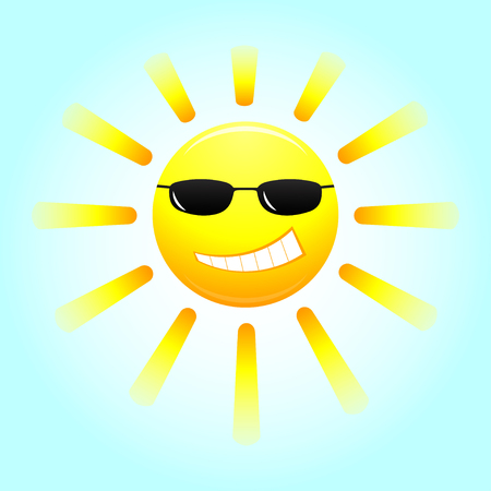 smiling sun: Smiling sun with glasses. Cartoon smiling sun with glasses. Vector illustration. Illustration