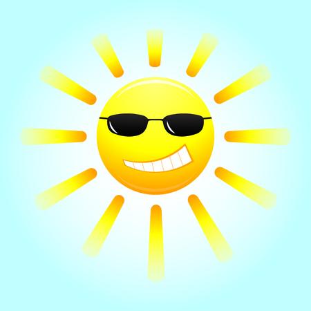 sun glasses: Smiling sun with glasses. Cartoon smiling sun with glasses. Vector illustration. Illustration