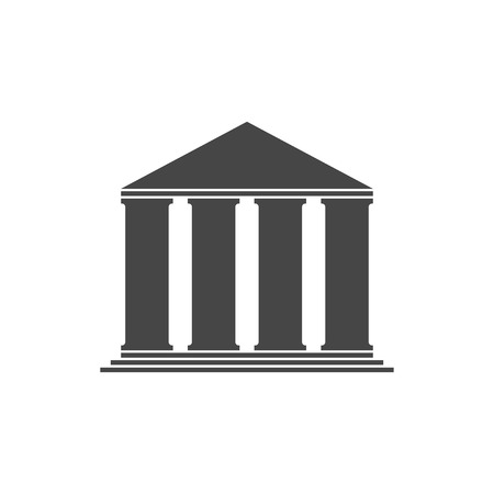 classical style: Grey building vector icon. Old building vector silhouette. Illustration
