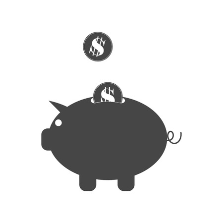 Money box vector icon. Pig money box with falling coins. Isolated on white. Vector icon.