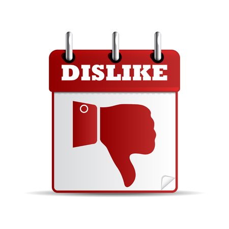 disagree: Button with dislike symbol. Calendar sheet with dislike symbol. Isolated on white. Vector illustration.