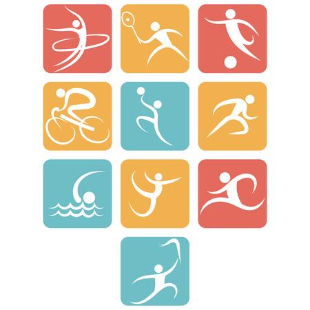 icono deportes: establece los deportes icono plana. set vector icono de los deportes. icono de los deportes de verano. juegos de verano. Stock Vector.