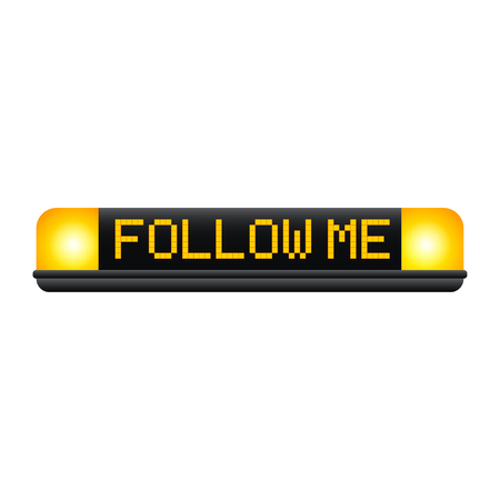 follow me: Yellow flasher and lettering Follow me. Button for cosial web. Follow me button. Vector icon follow me. Yellow button for social website. Isolated on white.