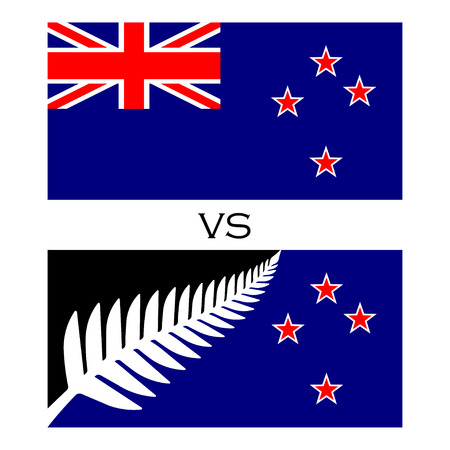 proposed: Flags with silver fern union jack. Two flag with silver fern and four stars and flag with union jack. Vector flags. Isolated on white.