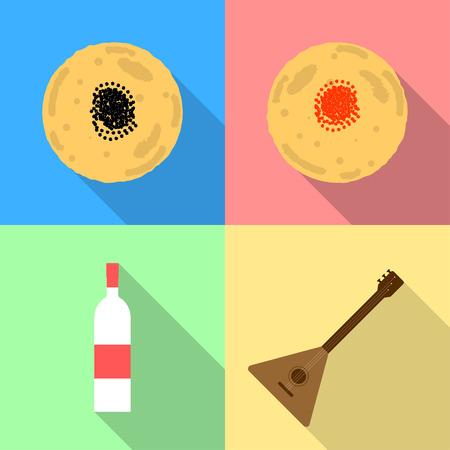 Traditional russian food and drink for Maslenitsa. Maslenitsa flat icons. Flat vector icons with pancakes and caviar, vodka and balalaika.