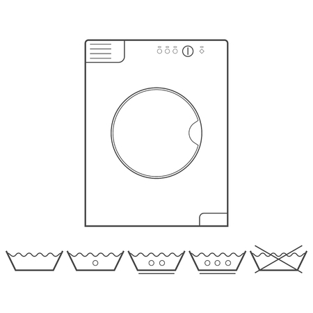 laundry washer: Washer and laundry outline icons.